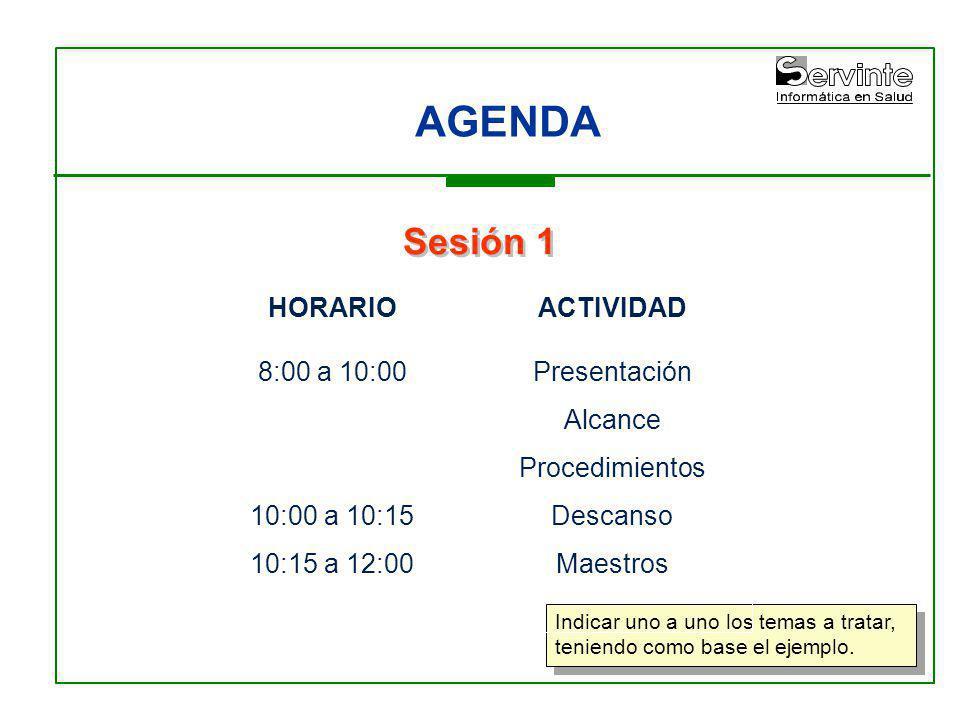 AGENDA Indicar uno a uno los temas a tratar, teniendo como base el ejemplo. Sesión 1 HORARIO 8:00 a 10:00 10:00 a 10:15 10:15 a 12:00 ACTIVIDAD Presen