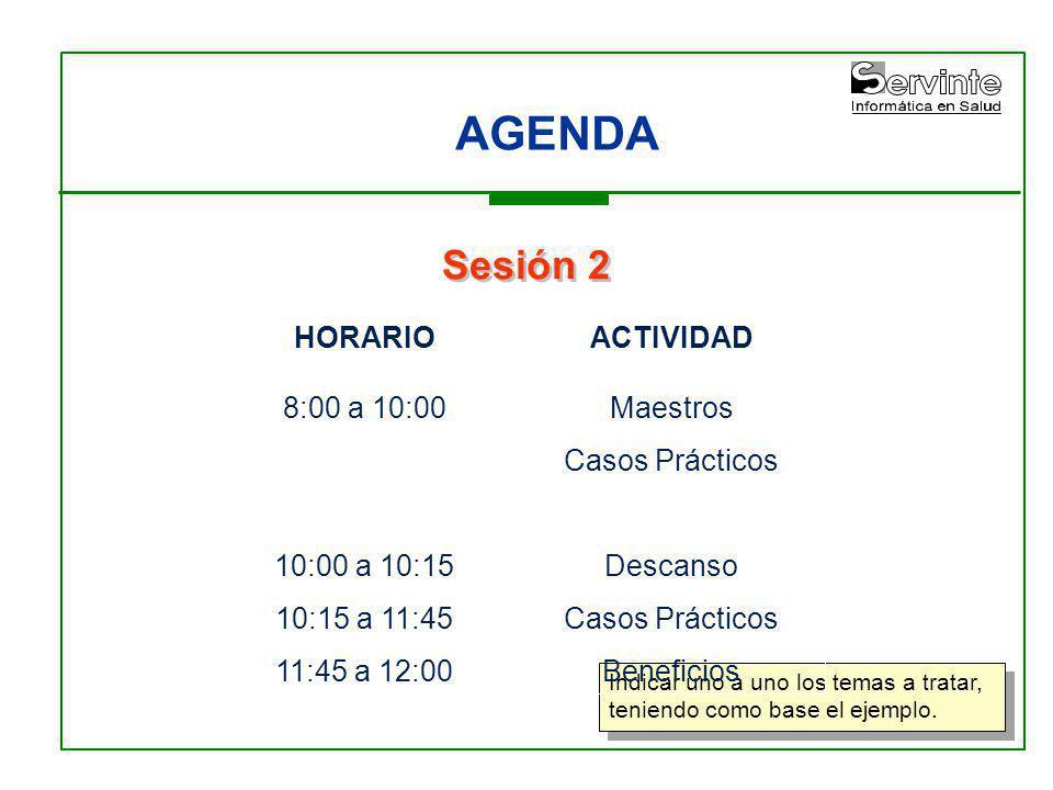 AGENDA Indicar uno a uno los temas a tratar, teniendo como base el ejemplo. Sesión 2 HORARIO 8:00 a 10:00 10:00 a 10:15 10:15 a 11:45 11:45 a 12:00 AC