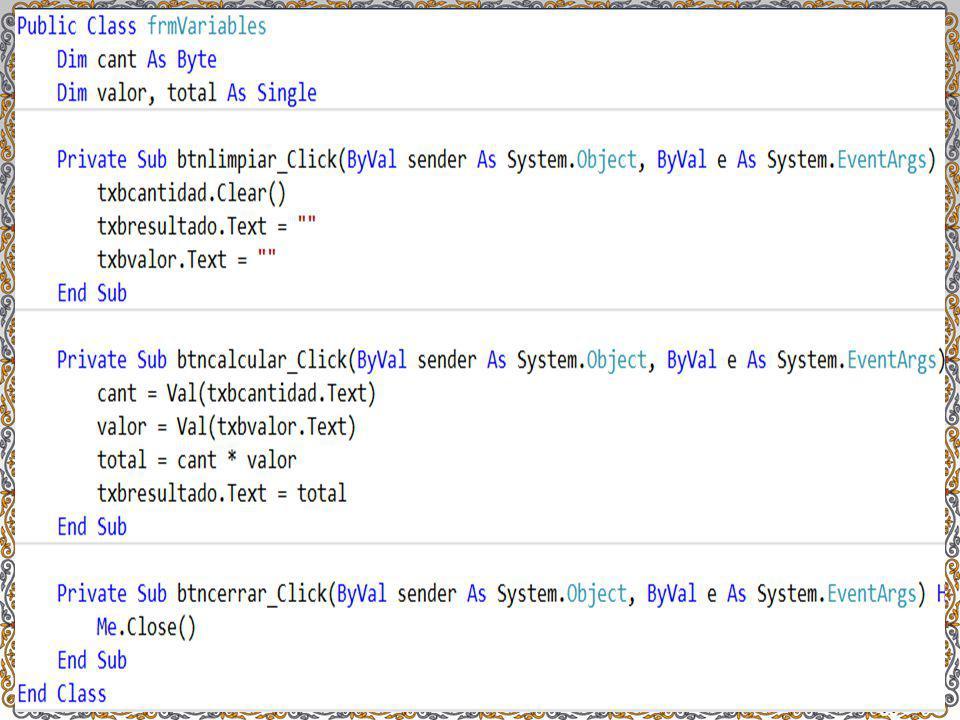 EJEMPLO 2 Crear un programa que permita ingresar dos números y con ellos realizar las operaciones matemáticas básicas