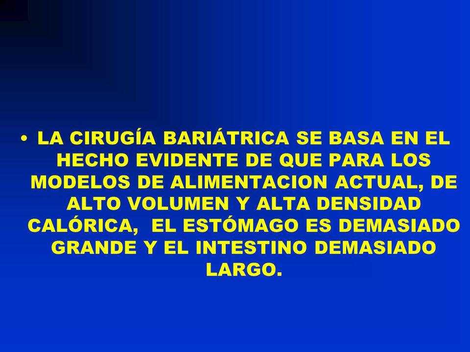 LA CIRUGÍA BARIÁTRICA SE BASA EN EL HECHO EVIDENTE DE QUE PARA LOS MODELOS DE ALIMENTACION ACTUAL, DE ALTO VOLUMEN Y ALTA DENSIDAD CALÓRICA, EL ESTÓMA