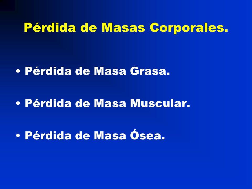 Pérdida de Masas Corporales. Pérdida de Masa Grasa. Pérdida de Masa Muscular. Pérdida de Masa Ósea.