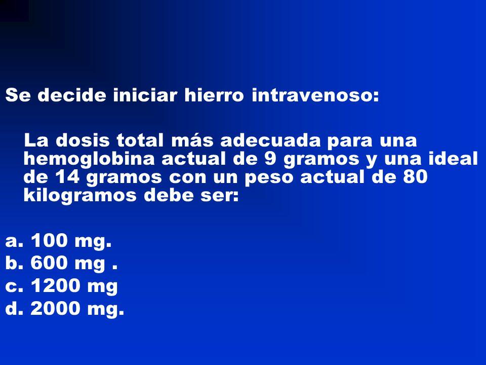 Se decide iniciar hierro intravenoso: La dosis total más adecuada para una hemoglobina actual de 9 gramos y una ideal de 14 gramos con un peso actual