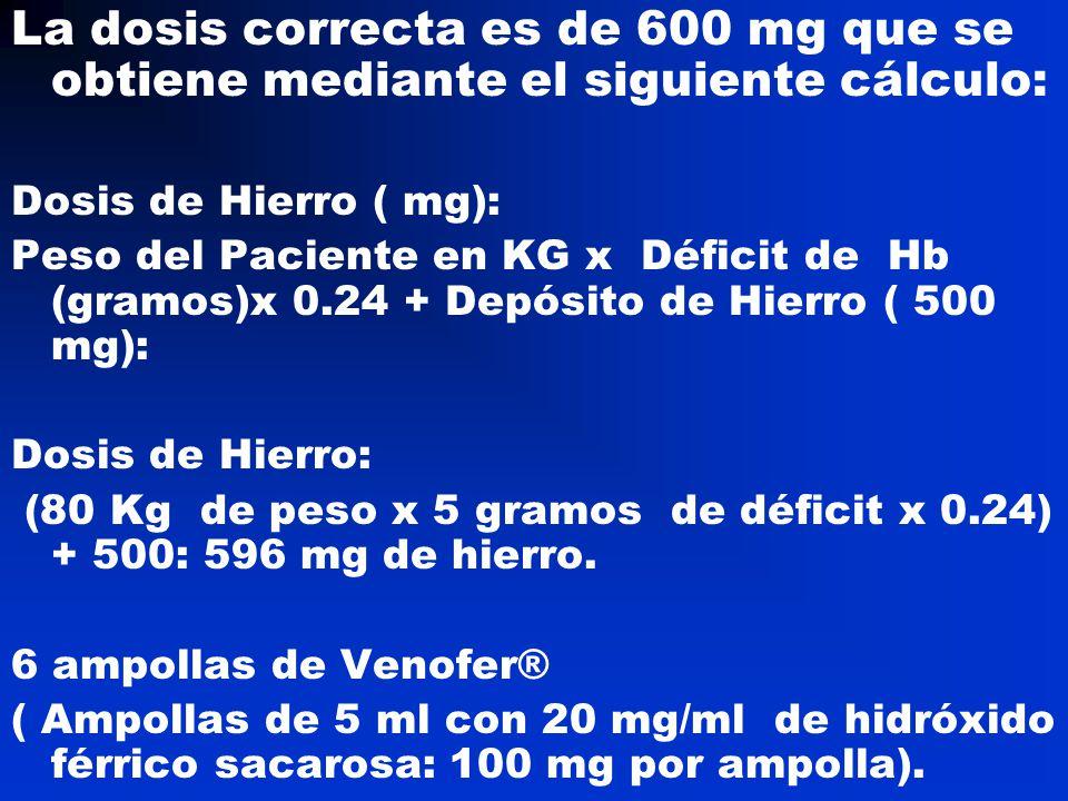 La dosis correcta es de 600 mg que se obtiene mediante el siguiente cálculo: Dosis de Hierro ( mg): Peso del Paciente en KG x Déficit de Hb (gramos)x