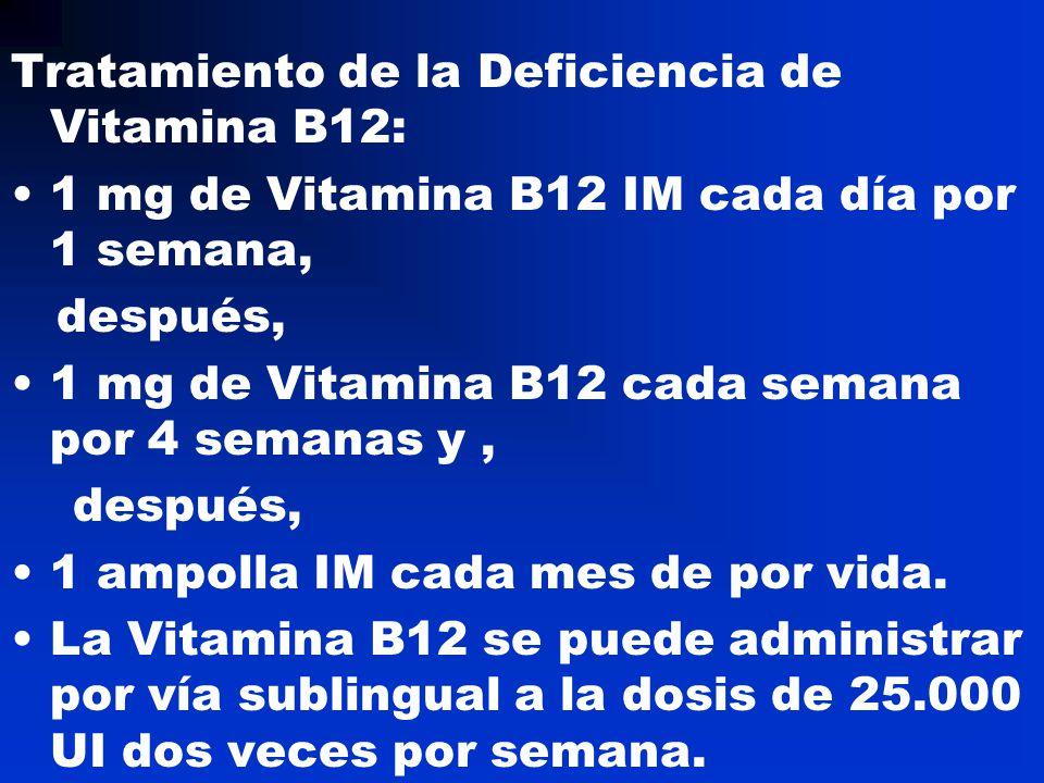 Tratamiento de la Deficiencia de Vitamina B12: 1 mg de Vitamina B12 IM cada día por 1 semana, después, 1 mg de Vitamina B12 cada semana por 4 semanas