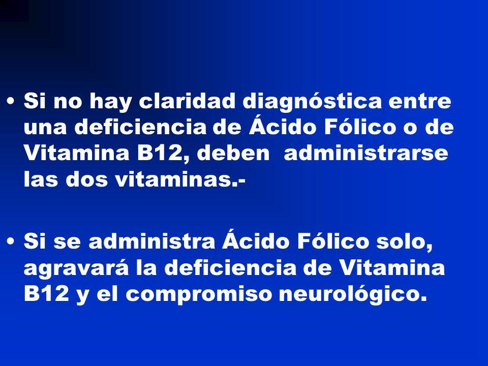 Si no hay claridad diagnóstica entre una deficiencia de Ácido Fólico o de Vitamina B12, deben administrarse las dos vitaminas.- Si se administra Ácido