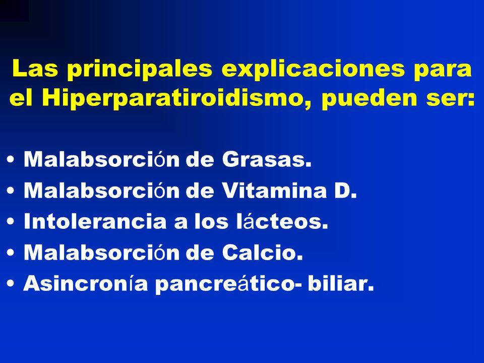 Las principales explicaciones para el Hiperparatiroidismo, pueden ser: Malabsorci ó n de Grasas. Malabsorci ó n de Vitamina D. Intolerancia a los l á