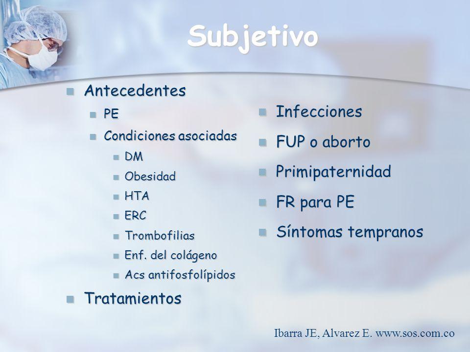 Subjetivo Antecedentes Antecedentes PE PE Condiciones asociadas Condiciones asociadas DM DM Obesidad Obesidad HTA HTA ERC ERC Trombofilias Trombofilia