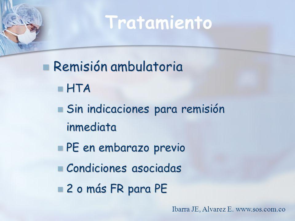 Tratamiento Remisión ambulatoria Remisión ambulatoria HTA HTA Sin indicaciones para remisión inmediata Sin indicaciones para remisión inmediata PE en