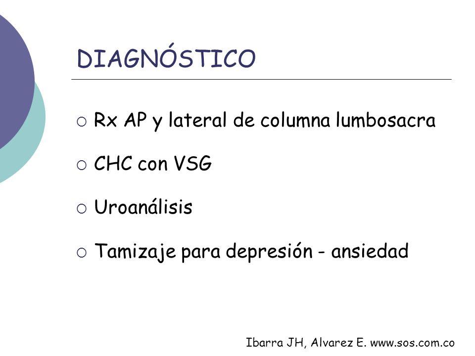 DIAGNÓSTICO Rx AP y lateral de columna lumbosacra CHC con VSG Uroanálisis Tamizaje para depresión - ansiedad Ibarra JH, Alvarez E. www.sos.com.co