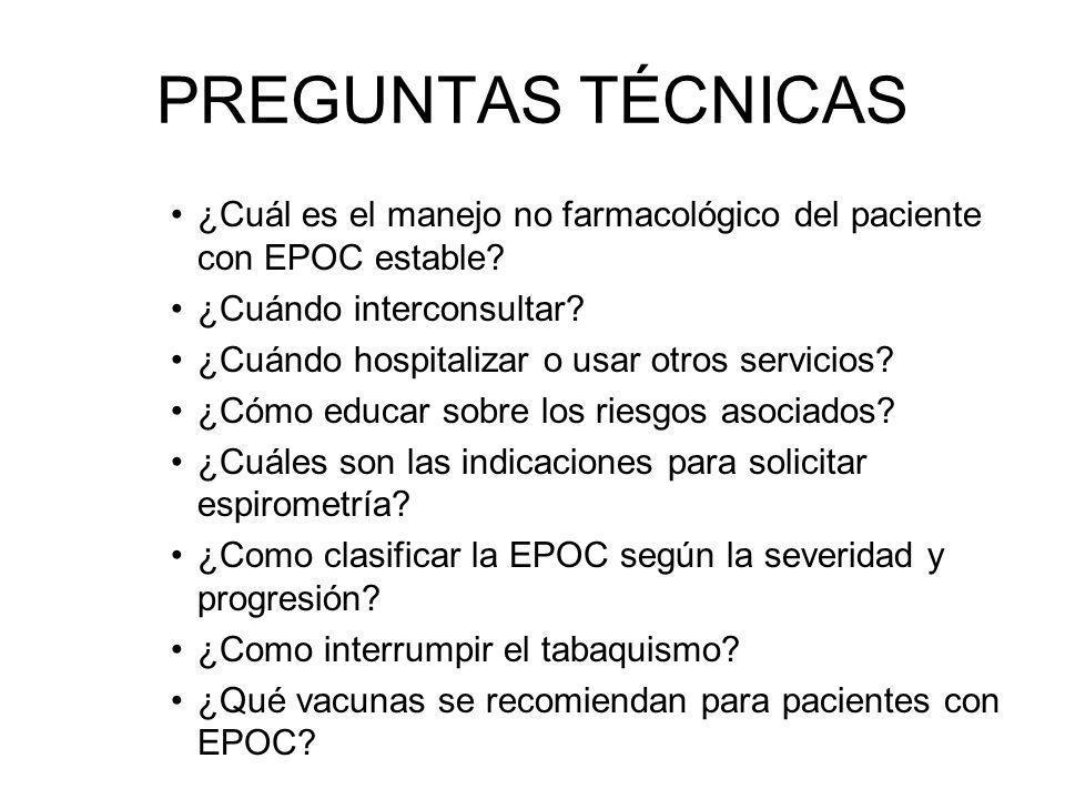 ¿Cuál es el manejo no farmacológico del paciente con EPOC estable? ¿Cuándo interconsultar? ¿Cuándo hospitalizar o usar otros servicios? ¿Cómo educar s