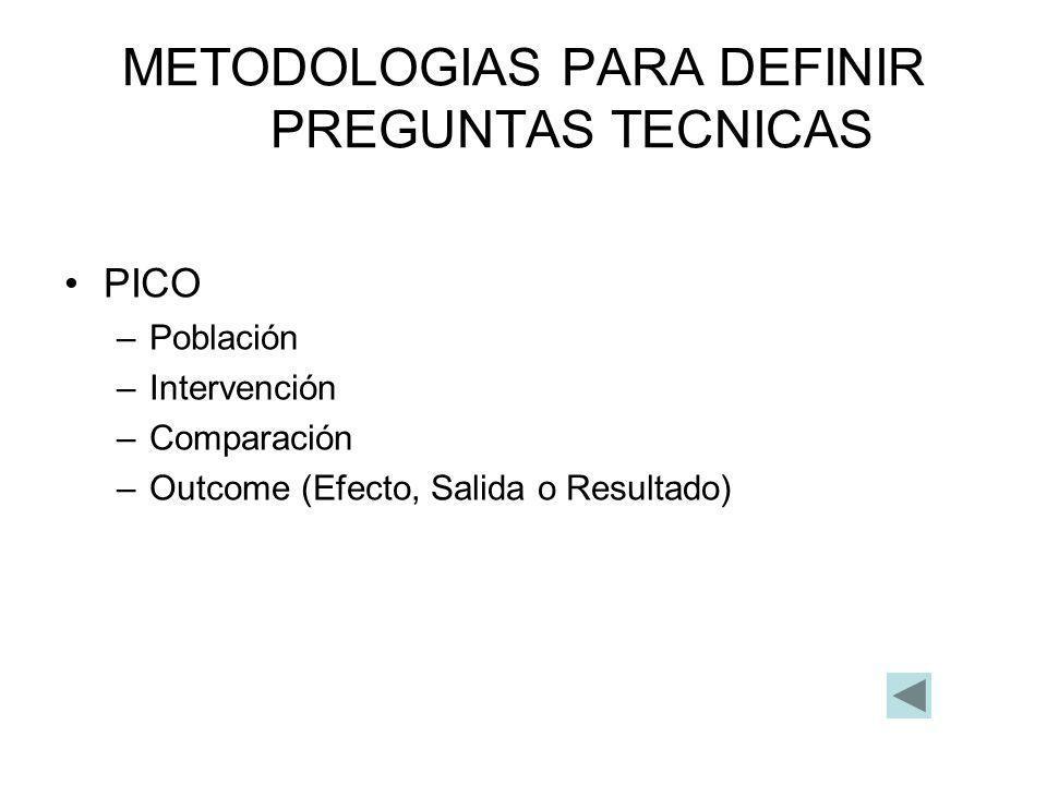 METODOLOGIAS PARA DEFINIR PREGUNTAS TECNICAS PICO –Población –Intervención –Comparación –Outcome (Efecto, Salida o Resultado)