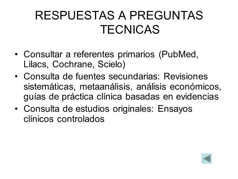 RESPUESTAS A PREGUNTAS TECNICAS Consultar a referentes primarios (PubMed, Lilacs, Cochrane, Scielo) Consulta de fuentes secundarias: Revisiones sistem