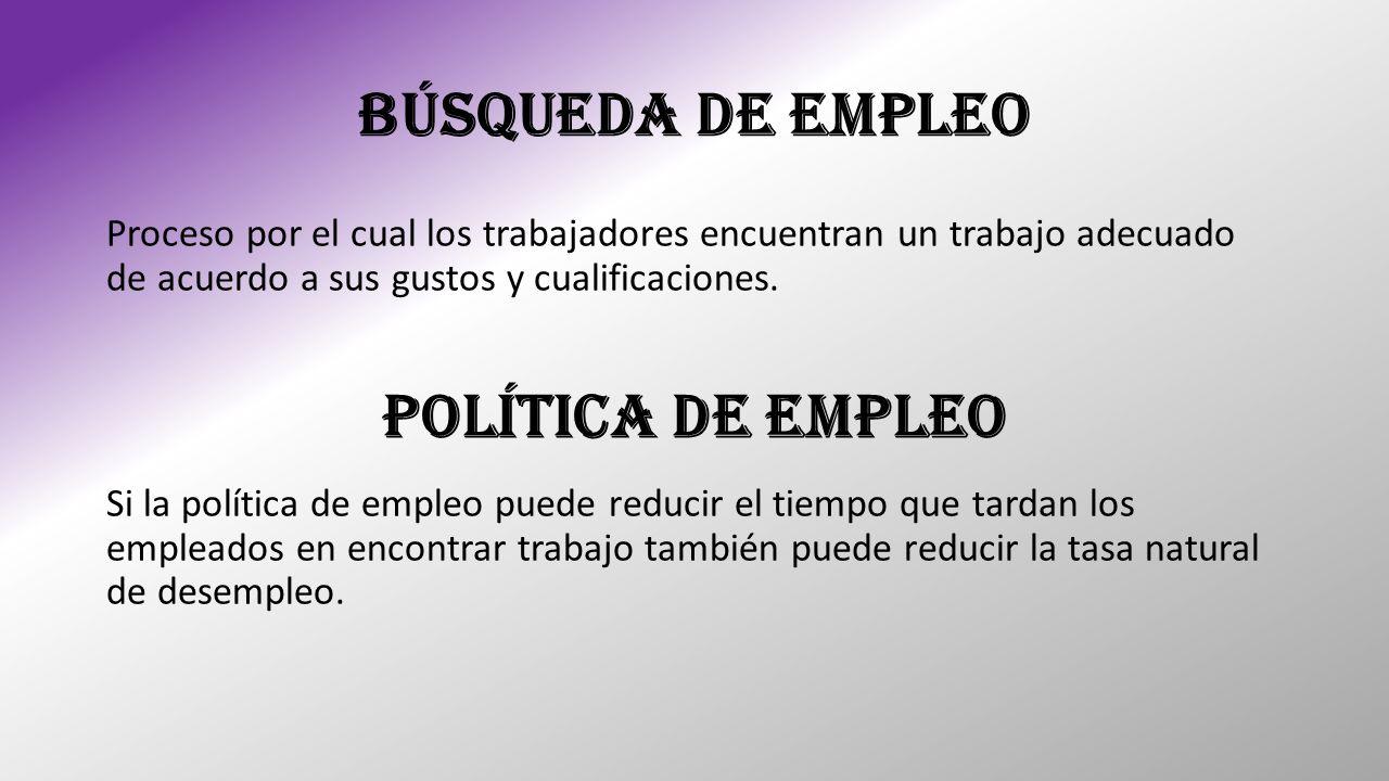 BÚSQUEDA DE EMPLEO Proceso por el cual los trabajadores encuentran un trabajo adecuado de acuerdo a sus gustos y cualificaciones. Política de Empleo S