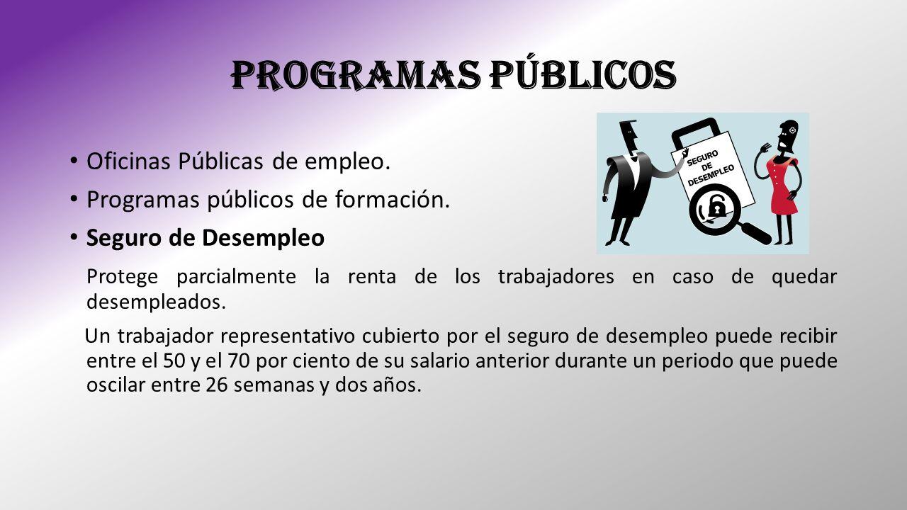 PROGRAMAS PÚBLICOS Oficinas Públicas de empleo. Programas públicos de formación. Seguro de Desempleo Protege parcialmente la renta de los trabajadores