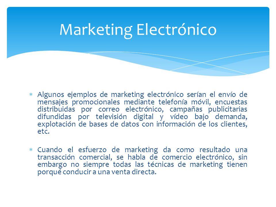 Algunos ejemplos de marketing electrónico serían el envío de mensajes promocionales mediante telefonía móvil, encuestas distribuidas por correo electr
