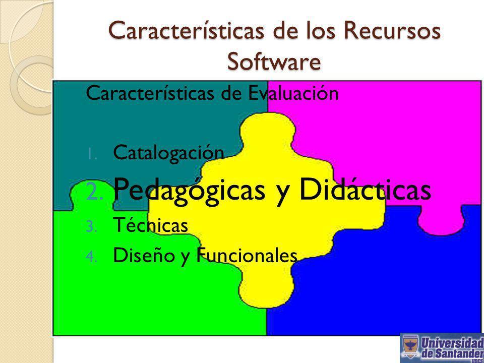 Características de Evaluación 1. Catalogación 2. Pedagógicas y Didácticas 3. Técnicas 4. Diseño y Funcionales Características de los Recursos Software