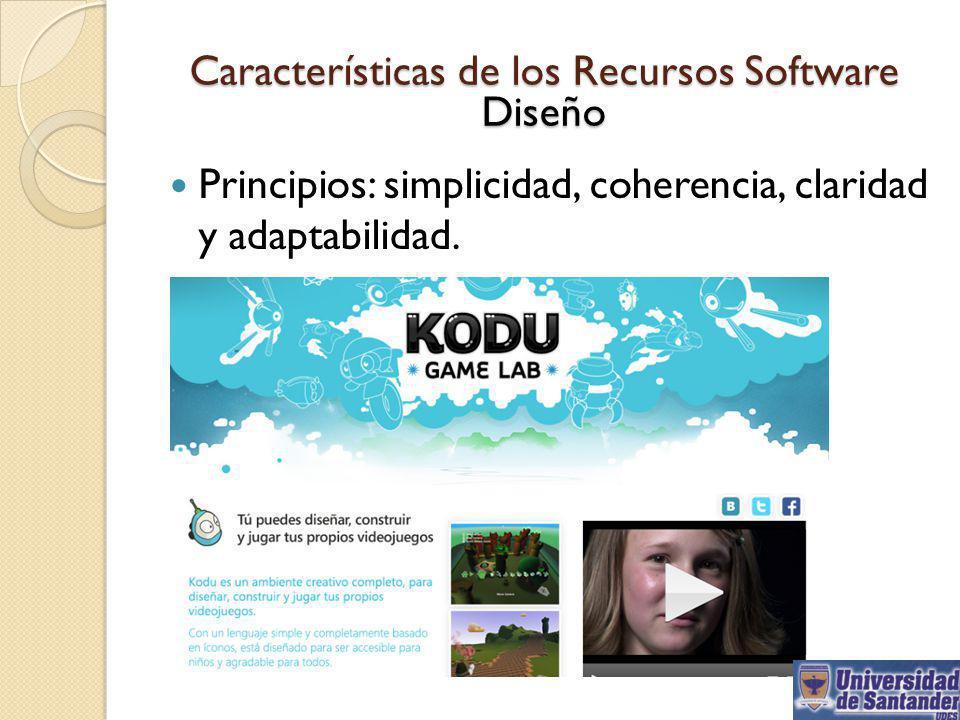 Características de los Recursos Software Diseño Principios: simplicidad, coherencia, claridad y adaptabilidad..