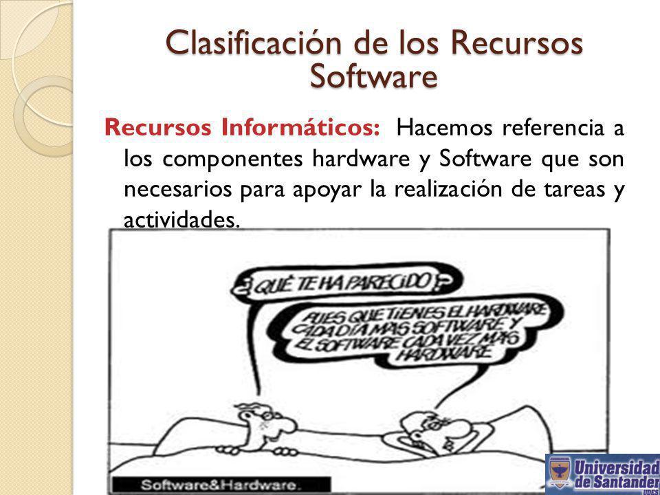 Clasificación de los Recursos Software Recursos Informáticos: Hacemos referencia a los componentes hardware y Software que son necesarios para apoyar