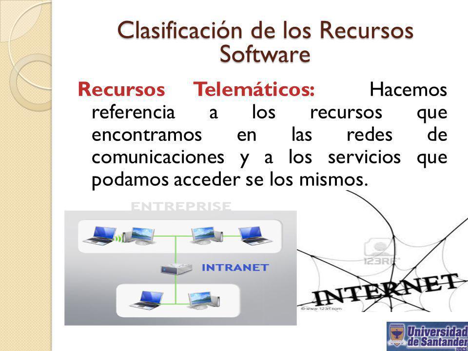 Clasificación de los Recursos Software Recursos Telemáticos: Hacemos referencia a los recursos que encontramos en las redes de comunicaciones y a los