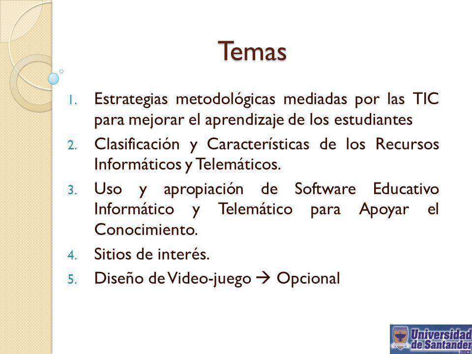 Temas 1. Estrategias metodológicas mediadas por las TIC para mejorar el aprendizaje de los estudiantes 2. Clasificación y Características de los Recur