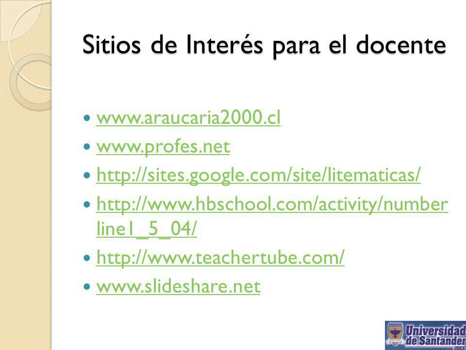 Sitios de Interés para el docente www.araucaria2000.cl www.profes.net http://sites.google.com/site/litematicas/ http://www.hbschool.com/activity/number line1_5_04/ http://www.hbschool.com/activity/number line1_5_04/ http://www.teachertube.com/ www.slideshare.net