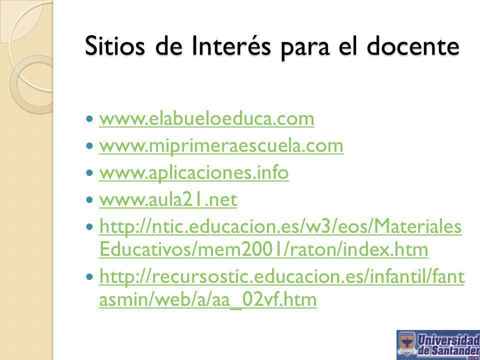 Sitios de Interés para el docente www.elabueloeduca.com www.miprimeraescuela.com www.aplicaciones.info www.aula21.net http://ntic.educacion.es/w3/eos/