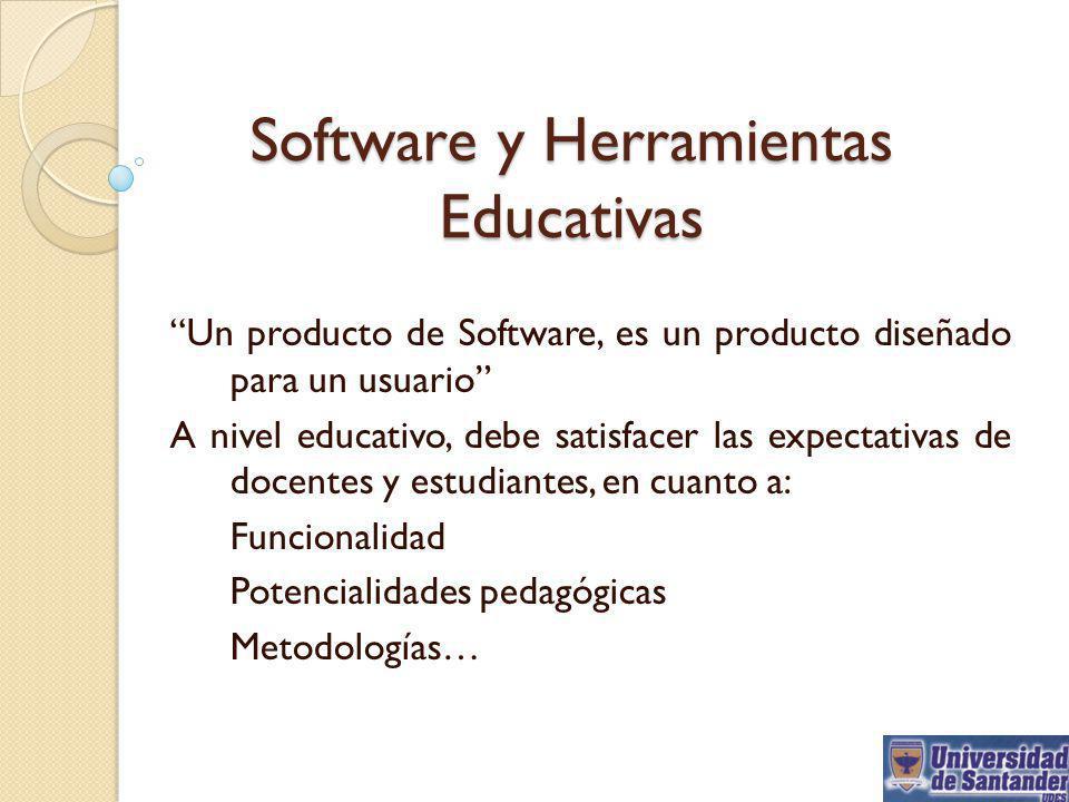 Software y Herramientas Educativas Un producto de Software, es un producto diseñado para un usuario A nivel educativo, debe satisfacer las expectativa