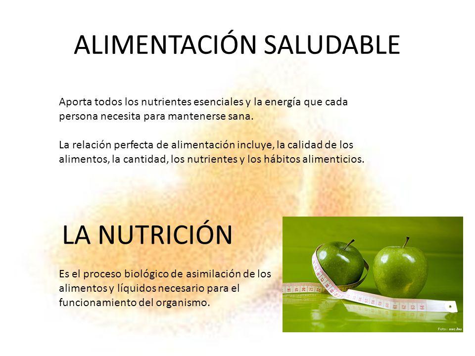 ALIMENTACIÓN SALUDABLE Aporta todos los nutrientes esenciales y la energía que cada persona necesita para mantenerse sana. La relación perfecta de ali