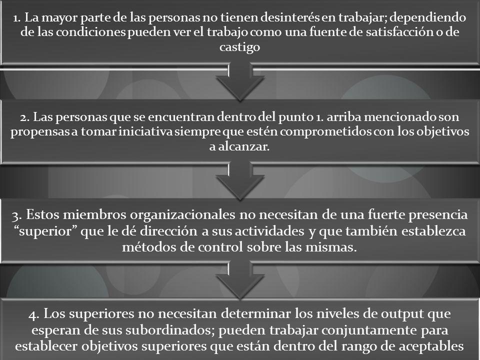 4. Los superiores no necesitan determinar los niveles de output que esperan de sus subordinados; pueden trabajar conjuntamente para establecer objetiv