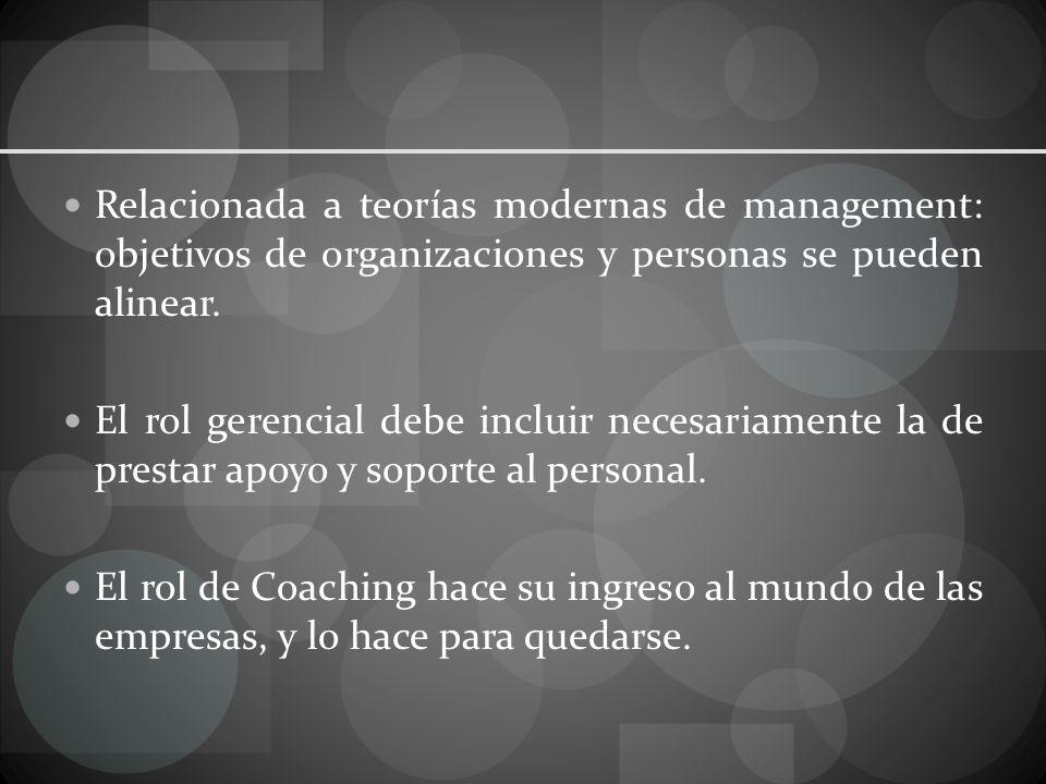 Relacionada a teorías modernas de management: objetivos de organizaciones y personas se pueden alinear.