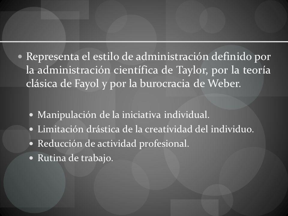 Representa el estilo de administración definido por la administración científica de Taylor, por la teoría clásica de Fayol y por la burocracia de Weber.
