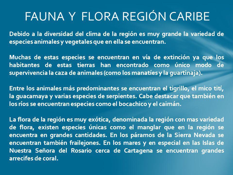 FAUNA Y FLORA REGIÓN CARIBE Debido a la diversidad del clima de la región es muy grande la variedad de especies animales y vegetales que en ella se en
