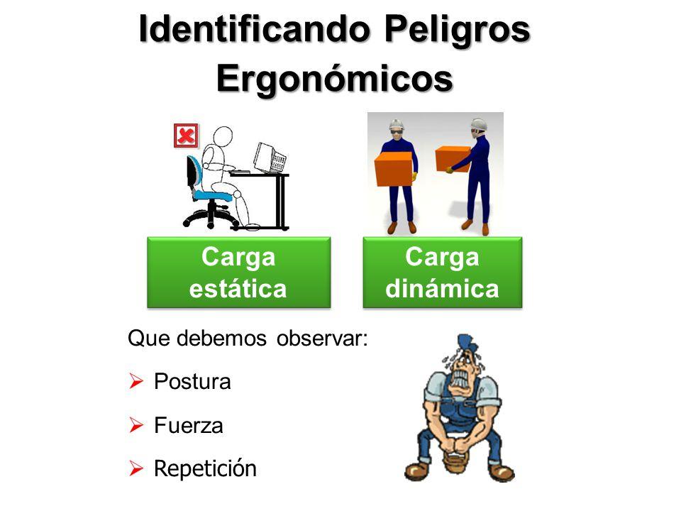Identificando Peligros Ergonómicos Que debemos observar: Postura Fuerza Repetición Carga estática Carga dinámica