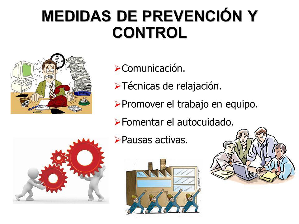 MEDIDAS DE PREVENCIÓN Y CONTROL Comunicación. Técnicas de relajación. Promover el trabajo en equipo. Fomentar el autocuidado. Pausas activas.