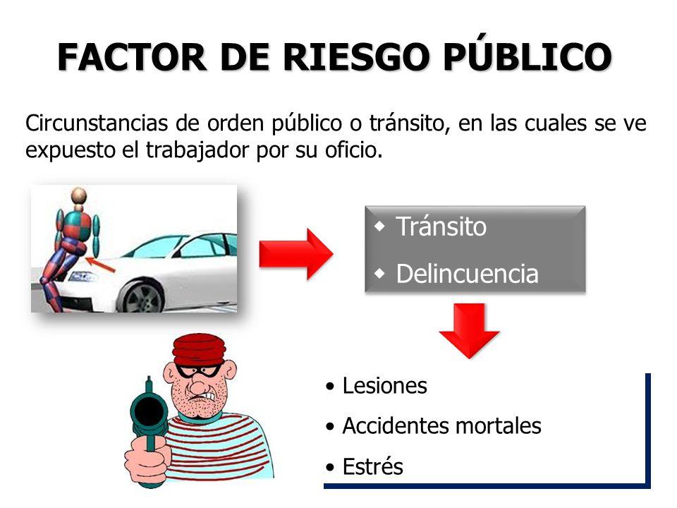 Tránsito Delincuencia Tránsito Delincuencia Lesiones Accidentes mortales Estrés Lesiones Accidentes mortales Estrés FACTOR DE RIESGO PÚBLICO Circunsta