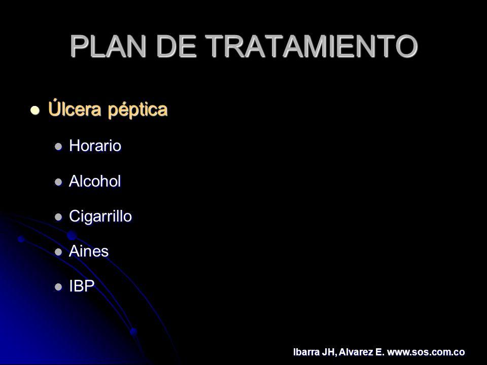 PLAN DE TRATAMIENTO Úlcera péptica Úlcera péptica Horario Horario Alcohol Alcohol Cigarrillo Cigarrillo Aines Aines IBP IBP Ibarra JH, Alvarez E. www.