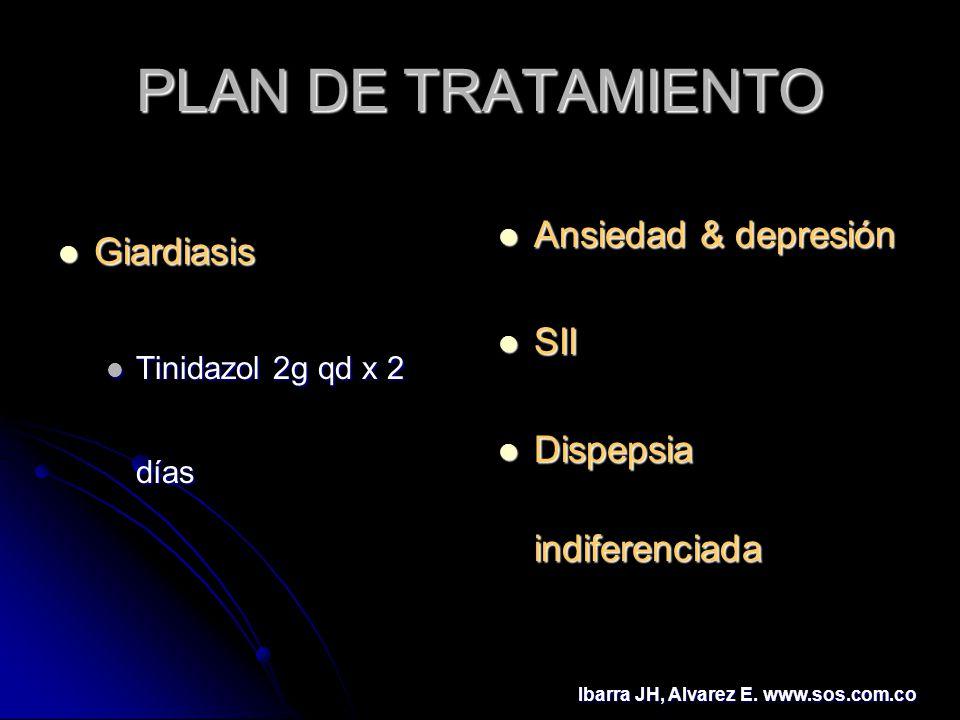 PLAN DE TRATAMIENTO Giardiasis Giardiasis Tinidazol 2g qd x 2 días Tinidazol 2g qd x 2 días Ansiedad & depresión Ansiedad & depresión SII SII Dispepsi