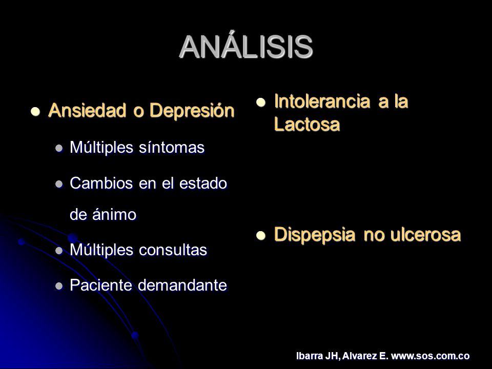 ANÁLISIS Ansiedad o Depresión Ansiedad o Depresión Múltiples síntomas Múltiples síntomas Cambios en el estado de ánimo Cambios en el estado de ánimo M