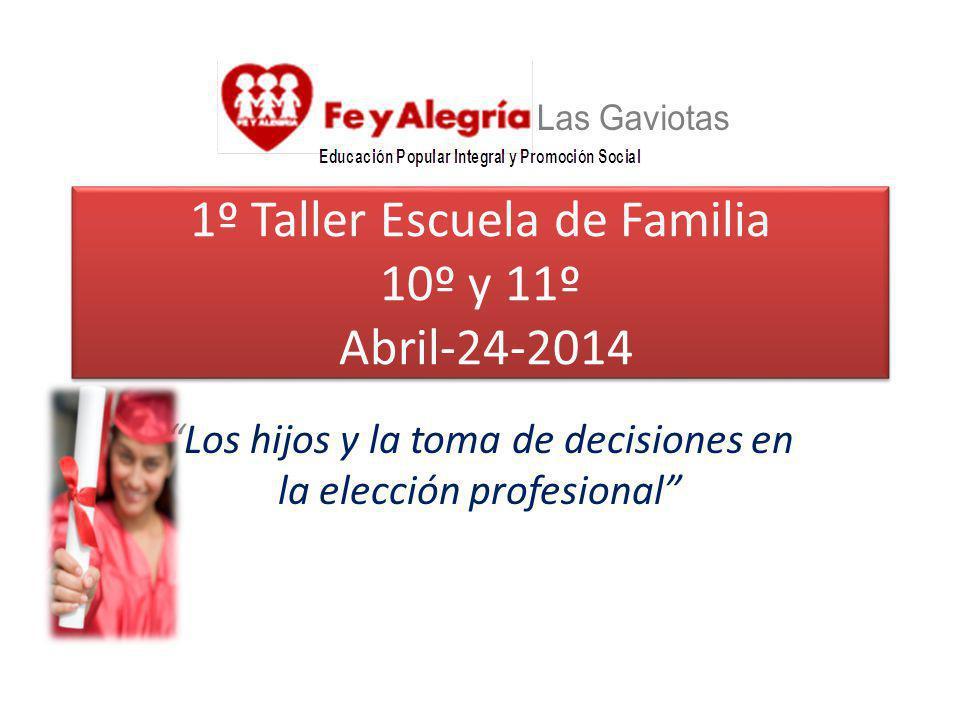 1º Taller Escuela de Familia 10º y 11º Abril-24-2014 Los hijos y la toma de decisiones en la elección profesional