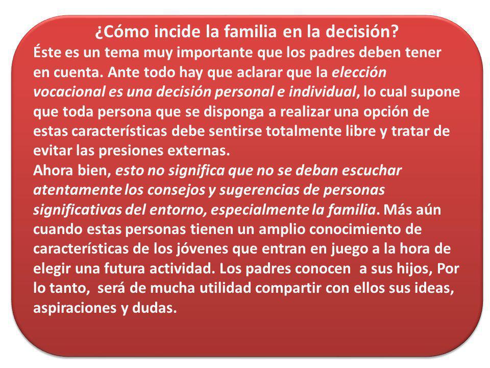 ¿Cómo incide la familia en la decisión? Éste es un tema muy importante que los padres deben tener en cuenta. Ante todo hay que aclarar que la elección