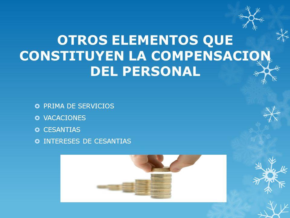 OTROS ELEMENTOS QUE CONSTITUYEN LA COMPENSACION DEL PERSONAL PRIMA DE SERVICIOS VACACIONES CESANTIAS INTERESES DE CESANTIAS