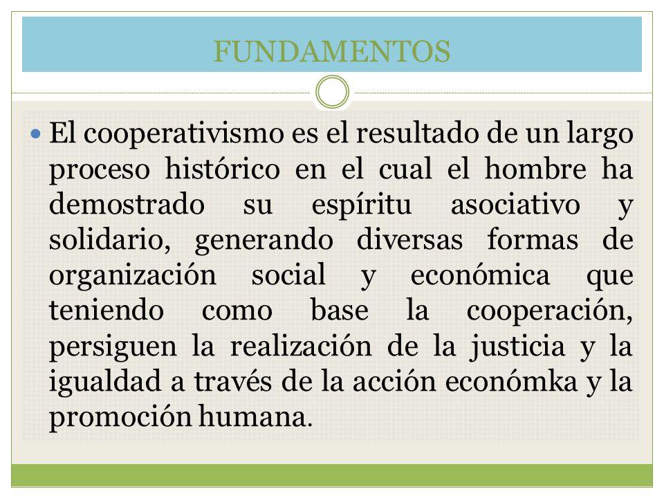 FUNDAMENTOS El cooperativismo es el resultado de un largo proceso histórico en el cual el hombre ha demostrado su espíritu asociativo y solidario, gen