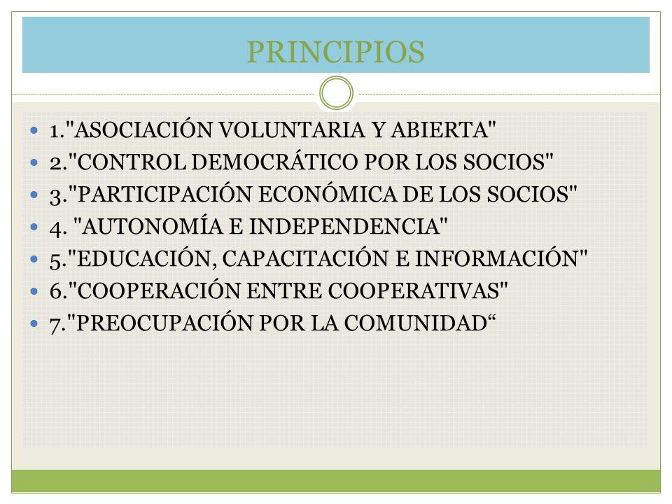 PRINCIPIOS 1. ASOCIACIÓN VOLUNTARIA Y ABIERTA 2. CONTROL DEMOCRÁTICO POR LOS SOCIOS 3. PARTICIPACIÓN ECONÓMICA DE LOS SOCIOS 4.