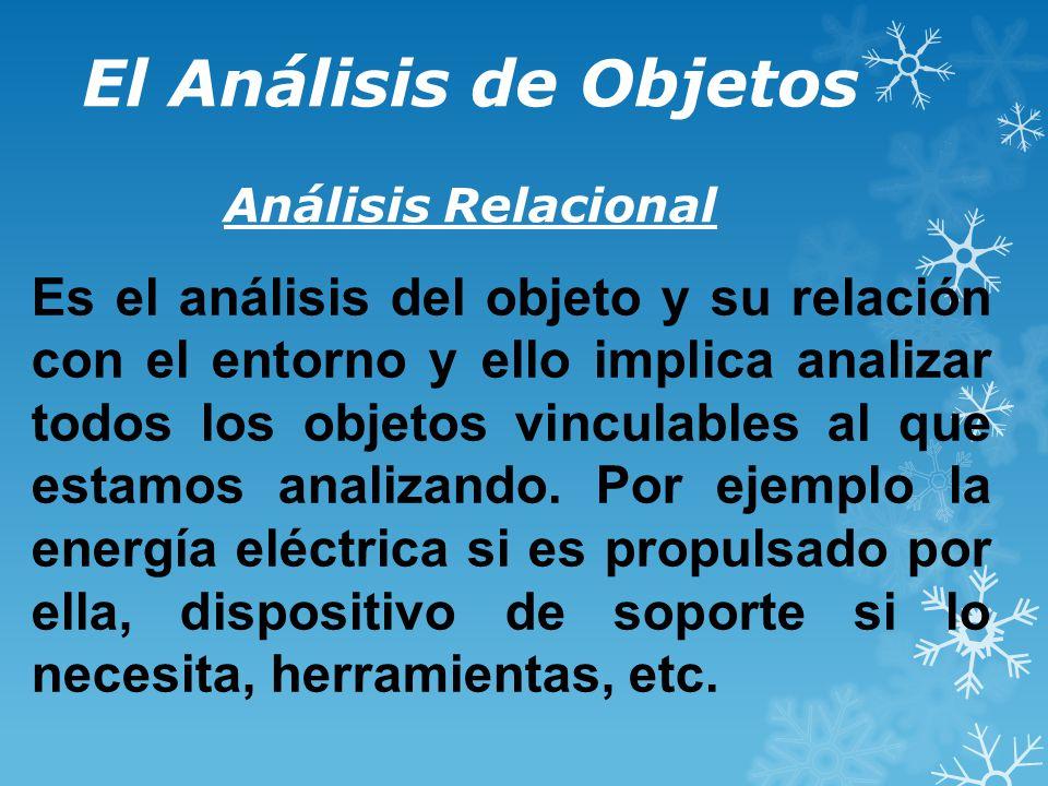 El Análisis de Objetos Análisis Relacional Es el análisis del objeto y su relación con el entorno y ello implica analizar todos los objetos vinculables al que estamos analizando.