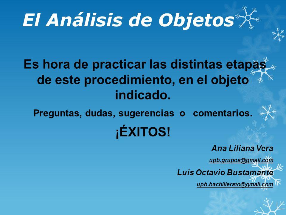 El Análisis de Objetos Es hora de practicar las distintas etapas de este procedimiento, en el objeto indicado.