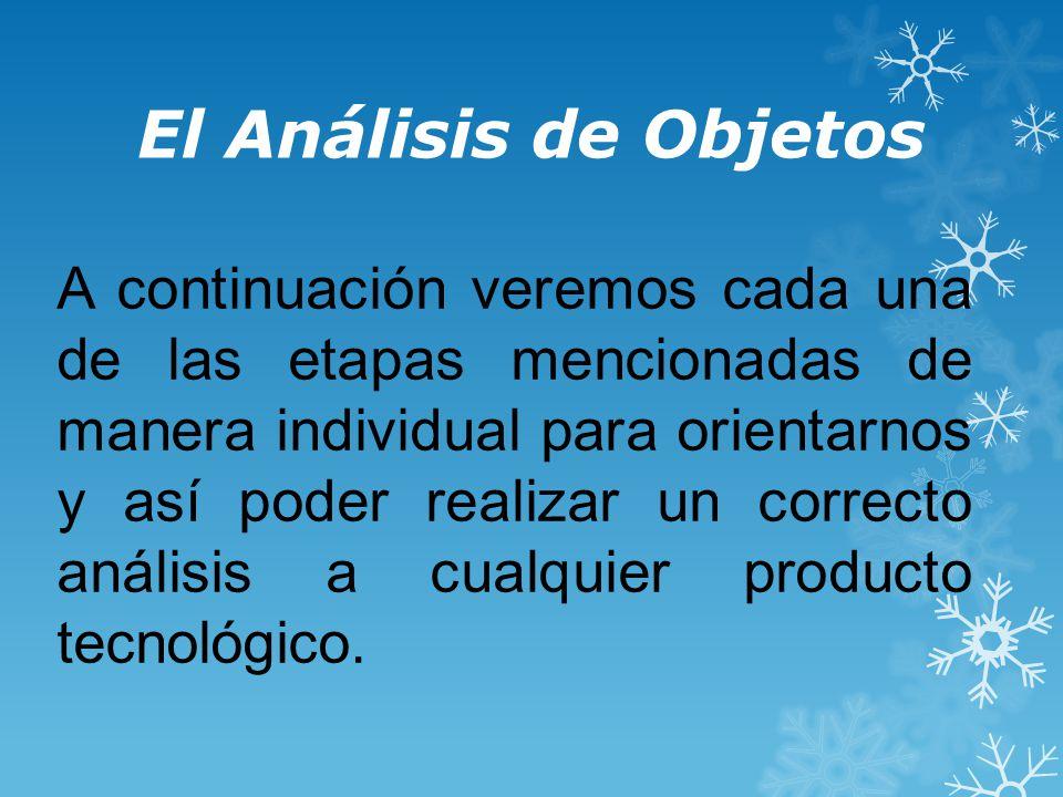 El Análisis de Objetos A continuación veremos cada una de las etapas mencionadas de manera individual para orientarnos y así poder realizar un correcto análisis a cualquier producto tecnológico.