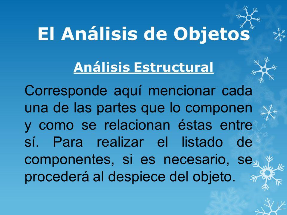 El Análisis de Objetos Análisis Estructural Corresponde aquí mencionar cada una de las partes que lo componen y como se relacionan éstas entre sí.