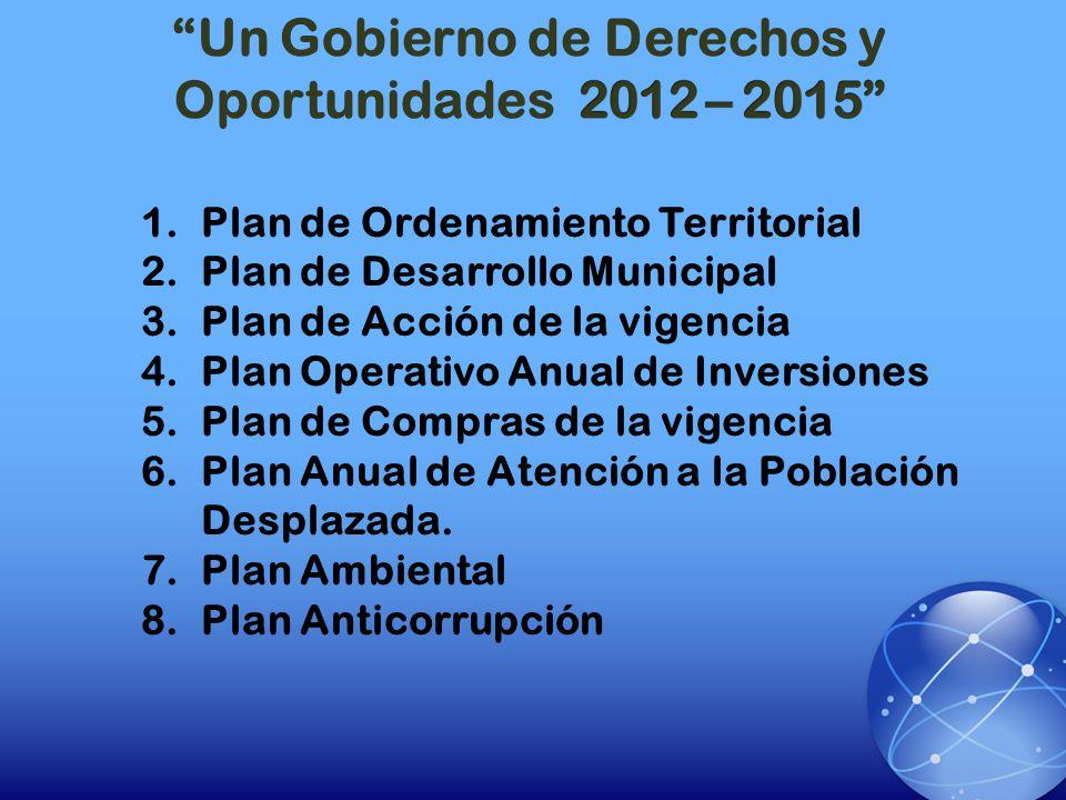 1.Plan de Ordenamiento Territorial 2.Plan de Desarrollo Municipal 3.Plan de Acción de la vigencia 4.Plan Operativo Anual de Inversiones 5.Plan de Comp