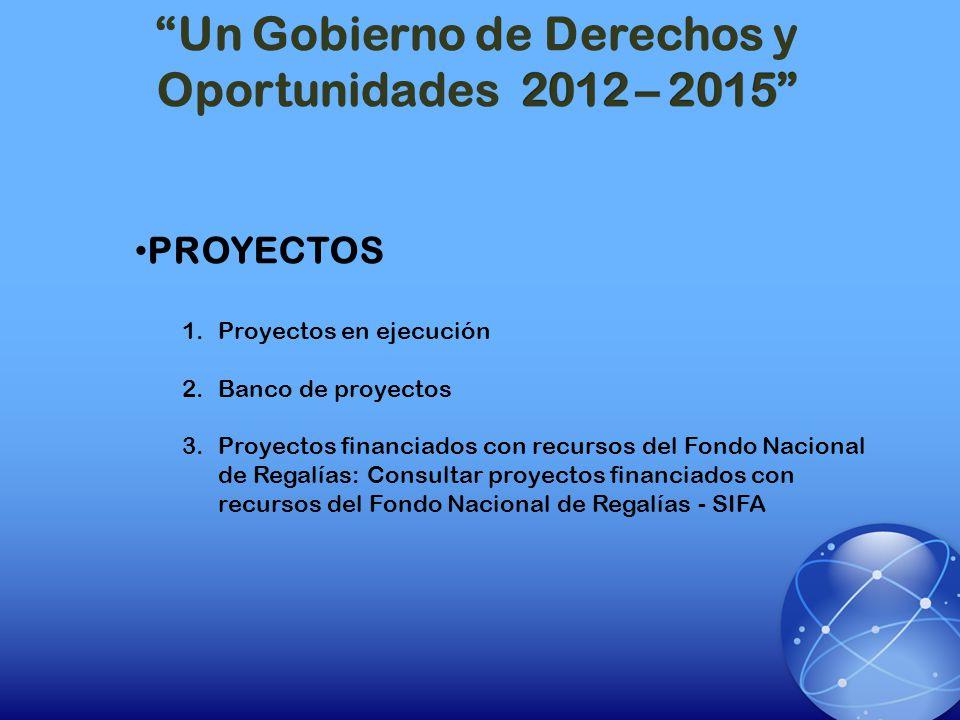 PROYECTOS 1.Proyectos en ejecución 2.Banco de proyectos 3.Proyectos financiados con recursos del Fondo Nacional de Regalías: Consultar proyectos finan