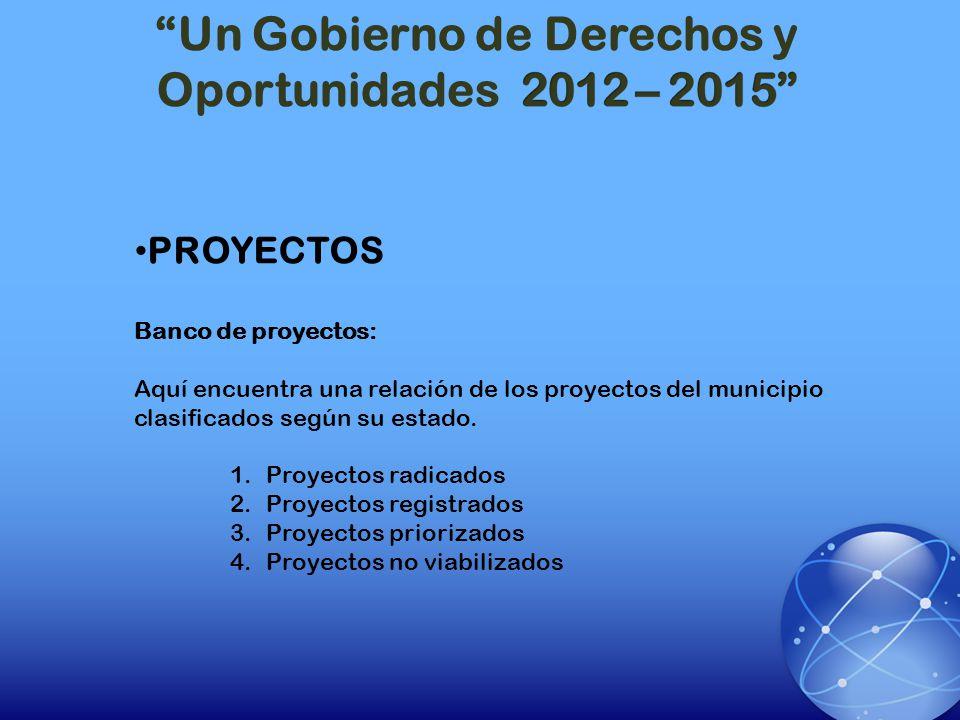 PROYECTOS Banco de proyectos: Aquí encuentra una relación de los proyectos del municipio clasificados según su estado. 1.Proyectos radicados 2.Proyect